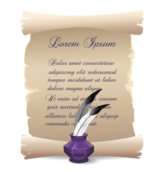Old inkwell with feathers on scroll background vector