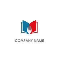 Open book fork food recipe logo vector