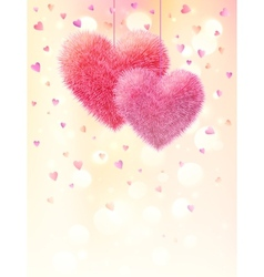 Pink fluffy hearts pair on light bokeh background vector