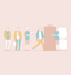 queue people young girls guys waiting vector image