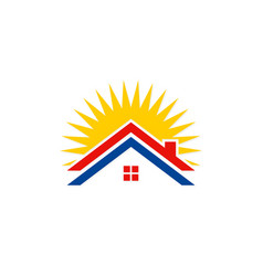 Roof house solar energy logo vector