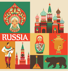 Russia russian folk art flat design vector