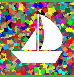 sail boat sign white icon on colorful vector image