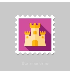 Sand Castle flat stamp with long shadow vector image