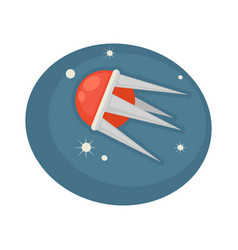 Satellite flying in space vector