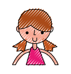 Scribble upper body girl cartoon vector
