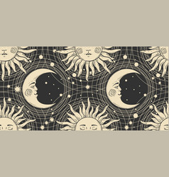 seamless pattern with a golden sun with a face and vector image