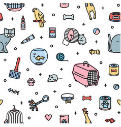 seamless pattern with pet shop goods and cute vector image