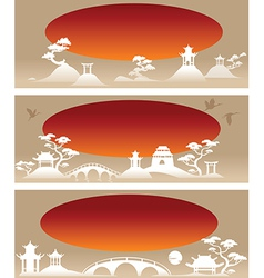 Set banners Abstract Asian Landscapes vector image