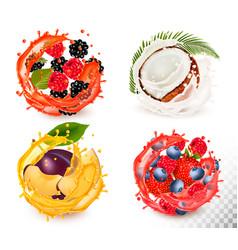 set fruit juice splash strawberry vector image