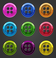 Set of multicolored button closing 1 vector