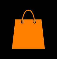 shopping bag orange icon on black vector image