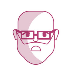 Silhouette sad man head and face with glasses vector