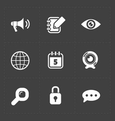 six white flat social icons set vector image