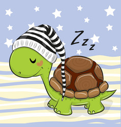 Sleeping cute turtle in a hood vector