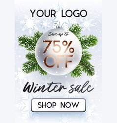 the christmas sale white banner for site vector image
