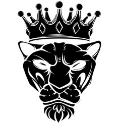 tiger silhouette with crown vector image