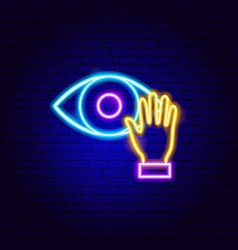 Touch eye neon sign vector