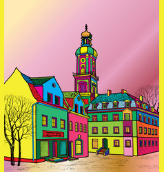 Travel postcard in 1960s pop art style pedestrian vector