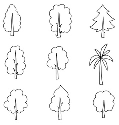 Tree set hand draw on doodle vector