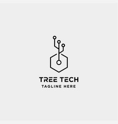Tree technology logo design nature tech symbol vector