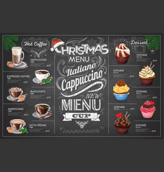 vintage chalk drawing christmas coffe menu design vector image