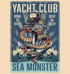 Vintage nautical colorful poster vector
