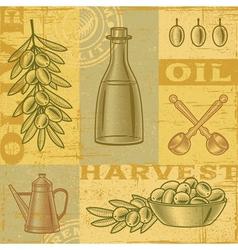 Vintage olive harvest background vector
