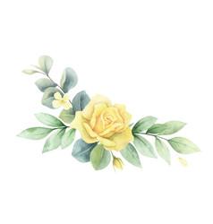 watercolor wreath green branches vector image
