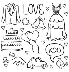 wedding hand draw in doodles style vector image