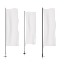 white vertical banner flag templates vector image