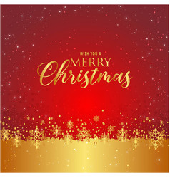 wish you a merry christmas snowflake red gold back vector image