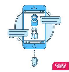 chatbot concept man chatting with chat bot on vector image vector image