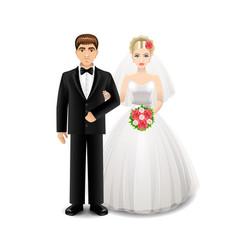 newlyweds isolated on white vector image