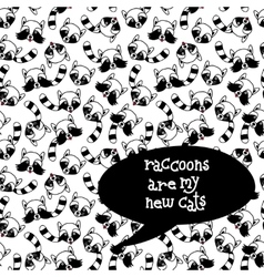 Raccoons seamless pattern Hand drawn vector image