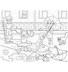 kids coloring children playing in rainy vector image vector image