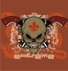 ribbon skull gun vector image vector image