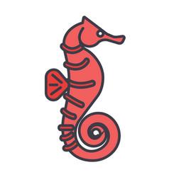 sea horse flat line concept vector image vector image