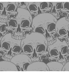 Seamless horror grey skull tattoo pattern vector