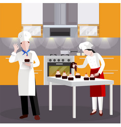 flat cooking people in restaurant composition vector image vector image