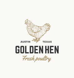 golden hen fresh poultry abstract sign vector image vector image
