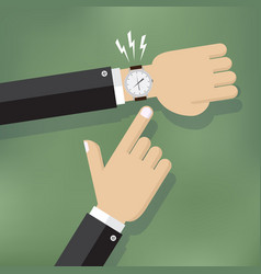 hand pointing at watch vector image vector image