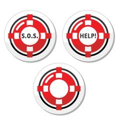 Life belt help icons set vector image vector image