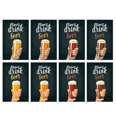 Male hand holding a glass with four types beer - vector