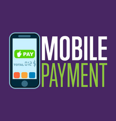 mobile payment concept in flat design vector image vector image