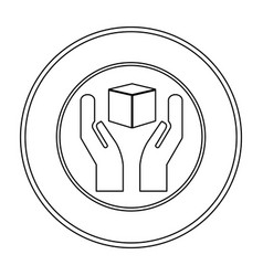 monochrome contour logistic with icon of handle vector image