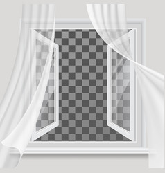 open window and waving transparent curtain vector image