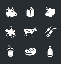 set of cow and milk icons vector image