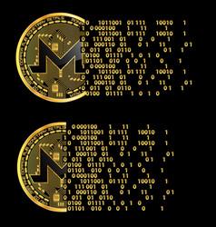 set of crypto currency monero golden symbols vector image vector image