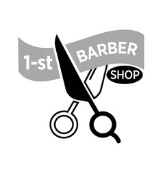 barber shop icon template of scissors vector image vector image
